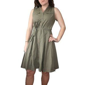 Cassis Army Green Button Front Cargo Midi Dress